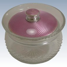 Sterling Silver and Pink Guilloche Enamel Lidded Jar - 1926