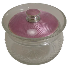 Sterling Silver and Pink Guilloche Enamel Lidded Jar - 1926