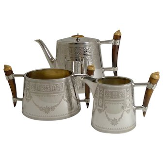Unusual English Silver Plate and Polished Horn Tea Set c.1890