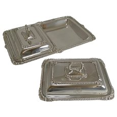 Pair Antique English Entree Dishes In Tray by James Dixon c.1890/1900
