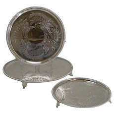 Set Three Graduated Trays / Salvers by Thomas Bradbury - 1870 - Ferns