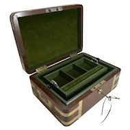 Fine Antique English Military / Campaign Brass Bound Mahogany Jewellery Box c.1820