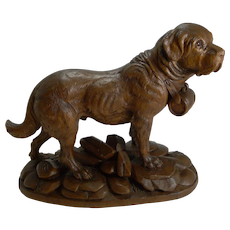 Huge Grand Black Forest Carving - St Bernard Dog c.1900