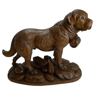 Huge Grand Black Forest Carving - St Bernard Dog c.1900