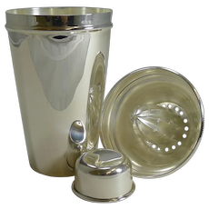English Art Deco Silver Plate Cocktail Shaker With Lemon Squeezer c.1930