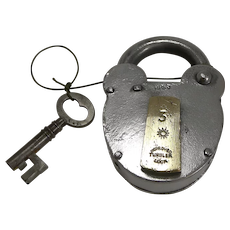 Large Antique English Polished Steel and Brass Padlock With Original Key c.1860