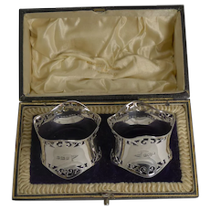 Smart Pair Antique English Sterling Silver Napkin Rings by Walker and Hall