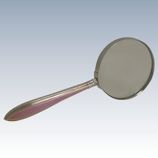 Sterling Silver And Pink Guilloche Enamel Magnifying Glass