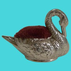 Tiny Antique English Sterling Silver Swan Pin Cushion - 1908