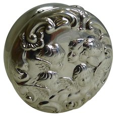 Antique English Sterling Silver Pill Box - Cherubs / Angels