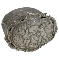 Romantic Antique English Sterling Silver Box - Cherubs and Heart