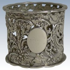 Heavy Antique English Sterling Silver Napkin Ring - 1895