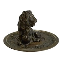 Fine and Grand Antique English Bronze Dish - Lion c.1860