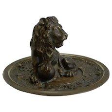 Fine and Grand Antique English Bronze Dish - Lion c.1860