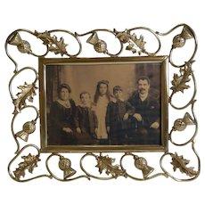 Antique Scottish Brass Photograph Frame - Thistles c.1890