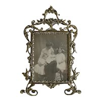 Pretty Antique English Cast Brass Photograph Frame c.1880