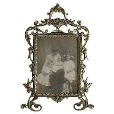 Pretty Antique English Cast Brass Photograph Frame c.1880