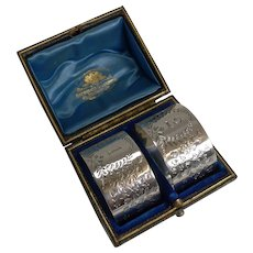 Fine Cased Pair Antique English Sterling Silver Napkin Rings - Ferns