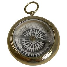 Antique English Brass Cased Open Faced Compass c.1880