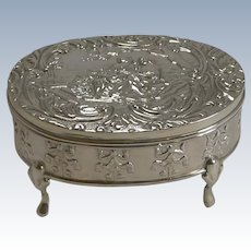 Antique, English Sterling Silver Figural Jewelry / Trinket Box - 1905