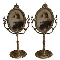 Pair Antique English Brass Swing Photograph Frames c.1880