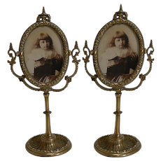 Pair Antique English Brass Swing Photograph Frames c.1880