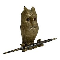 Antique Figural Inkwell - Gilded Bronze Owl With Glass Eyes