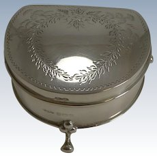 Pretty Antique English Sterling Silver Jewelry / Ring Box - 1910