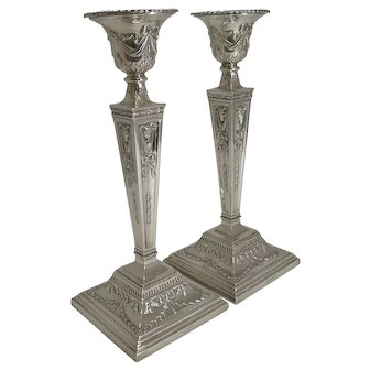 Stunning Large Pair Antique English Silver Plated Candlesticks by Martin Hall & Co.