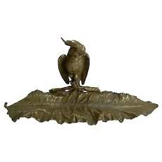 Magnificent Antique English Novelty Inkwell / Pen Tray - Parrot With Glass Eyes c.1880