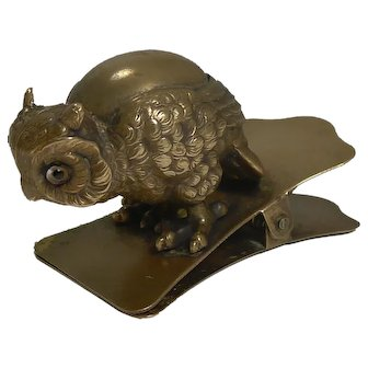 Charming Antique Novelty Brass Paper / Letter Clip - Owl With Glass Eyes