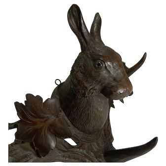 Rare Black Forest Hare / Rabbit Wall Rack c.1890