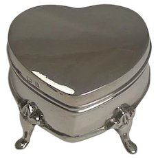 Antique Sterling Silver Heart Ring Box - 1909