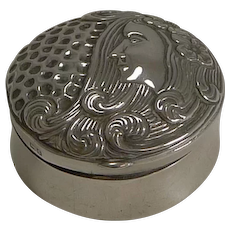 English Art Nouveau Sterling Silver Pill Box - Figural - 1903