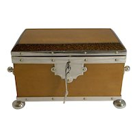 Rare Silver Plated Mounted Birdseye Maple and Palm Wood Tea Caddy c.1890