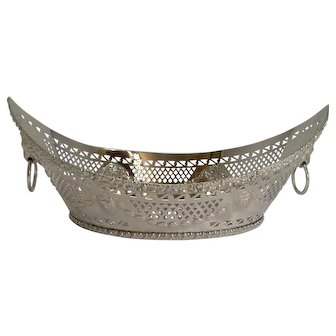 Grand Large Antique English Silver Plated Bread Basket c.1900