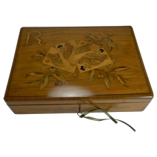 Fabulous Marquetry Inlaid Olive Wood Games / Playing Cards Box - French c.1880