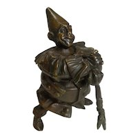 Fabulous Austrian Cold Painted Bronze Novelty Inkwell - Clown