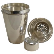 Large English Art Deco Silver Plate Cocktail Shaker With Ice Breaker c.1930