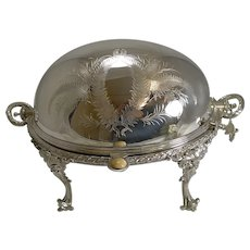 Fine Quality English Silver Plated Breakfast Dish - Fern Engraved c.1890
