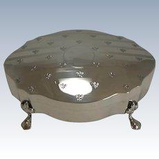 Antique English Sterling Silver Jewelry / Ring Box - Fleur De Lys