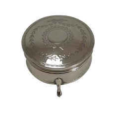 Pretty Antique English Sterling Silver Jewelry / Ring Box - 1913