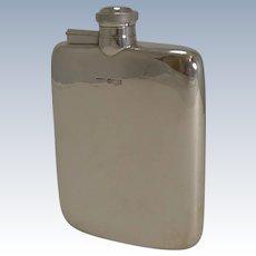 Handsome Antique English Sterling Silver Hip / Liquor Flask - Sheffield 1918