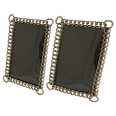 Pair Antique English Polished Brass Ring Photograph Frames c.1890