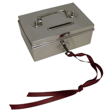 Rare Novelty English Sterling Silver Money Box / Bank - Miniature Cash Box