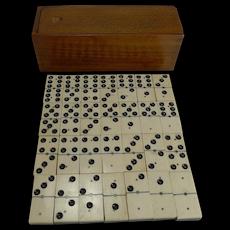 Boxed Set Antique English Bone and Ebony Dominoes c.1910