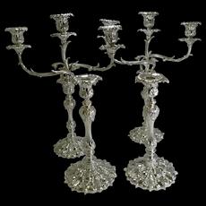 Suite Elkington Candesticks / Candelabra In Silver Plate - 1843 / 1879