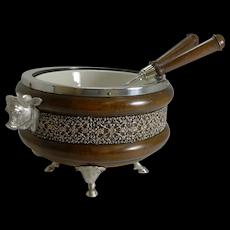 Rare Novelty English Figural Oak and Silver Plate Salad Bowl - Bull - 1888