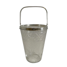 Antique English Glass and Silver Plate Ice Bucket