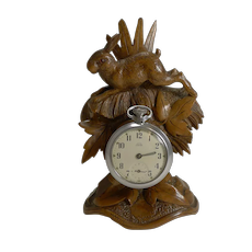 Charming Black Forest Pocket Watch Holder - Hare c.1900
